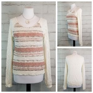 Maurices M White Pink Burnout Boucle Knit Sweater